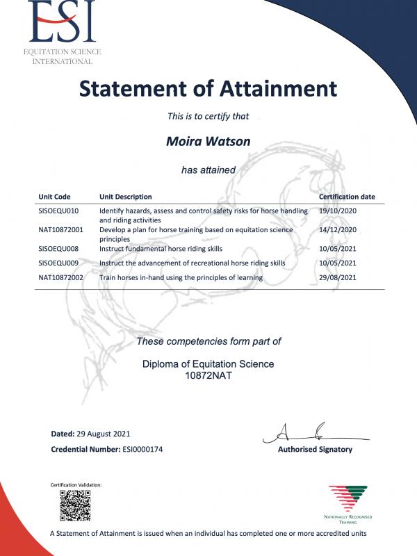 Equitation Science International Diploma
